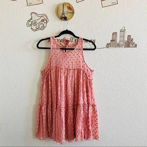 NWT Free People Rose Pink Metallic Polka Dot Dress